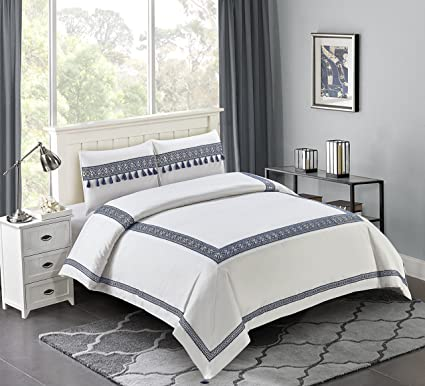 Luxury Hotel Bedding Sets.Wonder Home 3 Piece Luxury Hotel Cotton Comforter Set Simple Design Bordered Oversized Bedding Set With Tassles King 106 X96