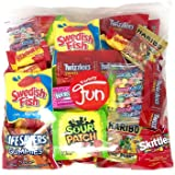 Trick Or Treat Halloween Candy Party Mix Bulk Bag of Skittles Swedish Fish Nerds Haribo Gummy Sour Patch Twizzlers Starburst Mike and Ike Custom Varietea Peppermints n' more! Net wt (48 oz)