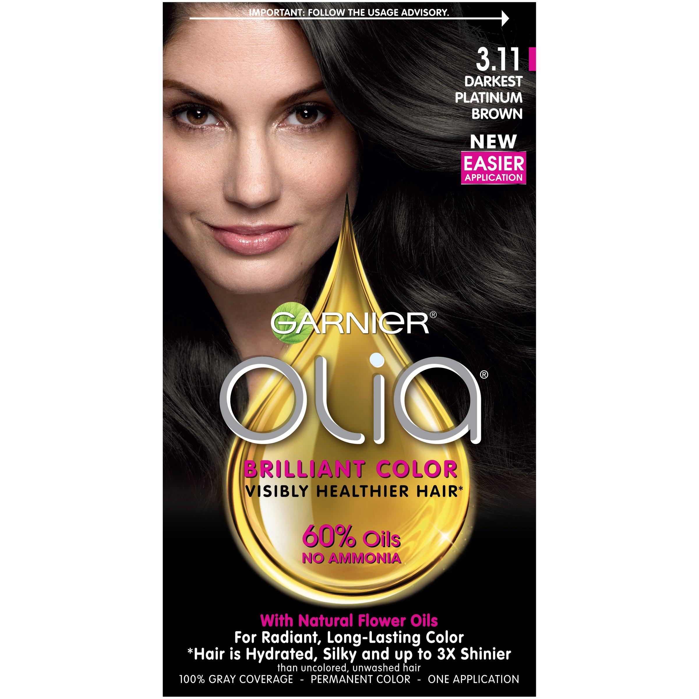 Garnier Olia Hair Color, 3.11 Darkest Platinum Brown, Ammonia Free (Packaging May Vary