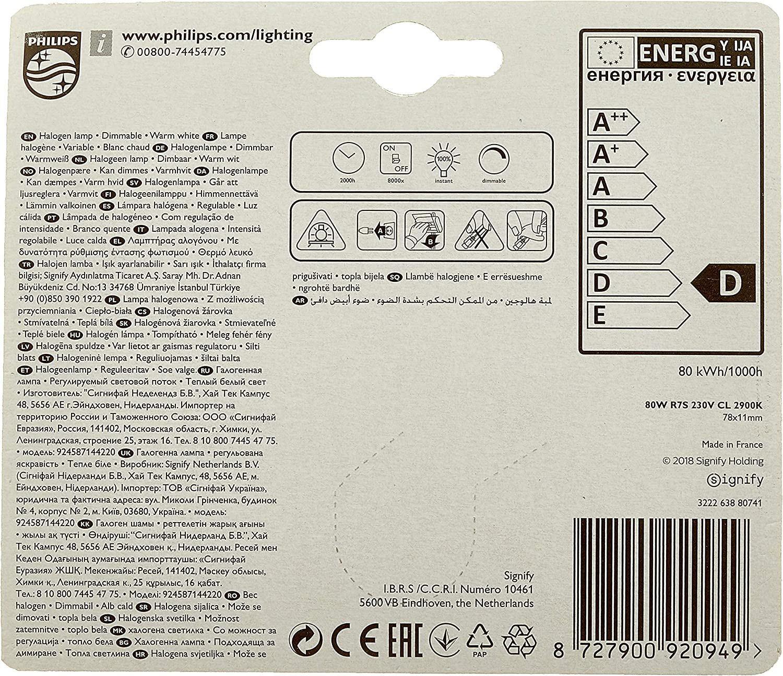 Philips Lighting EcoHalo Bombilla halógena (R7), bajo consumo R7s ...