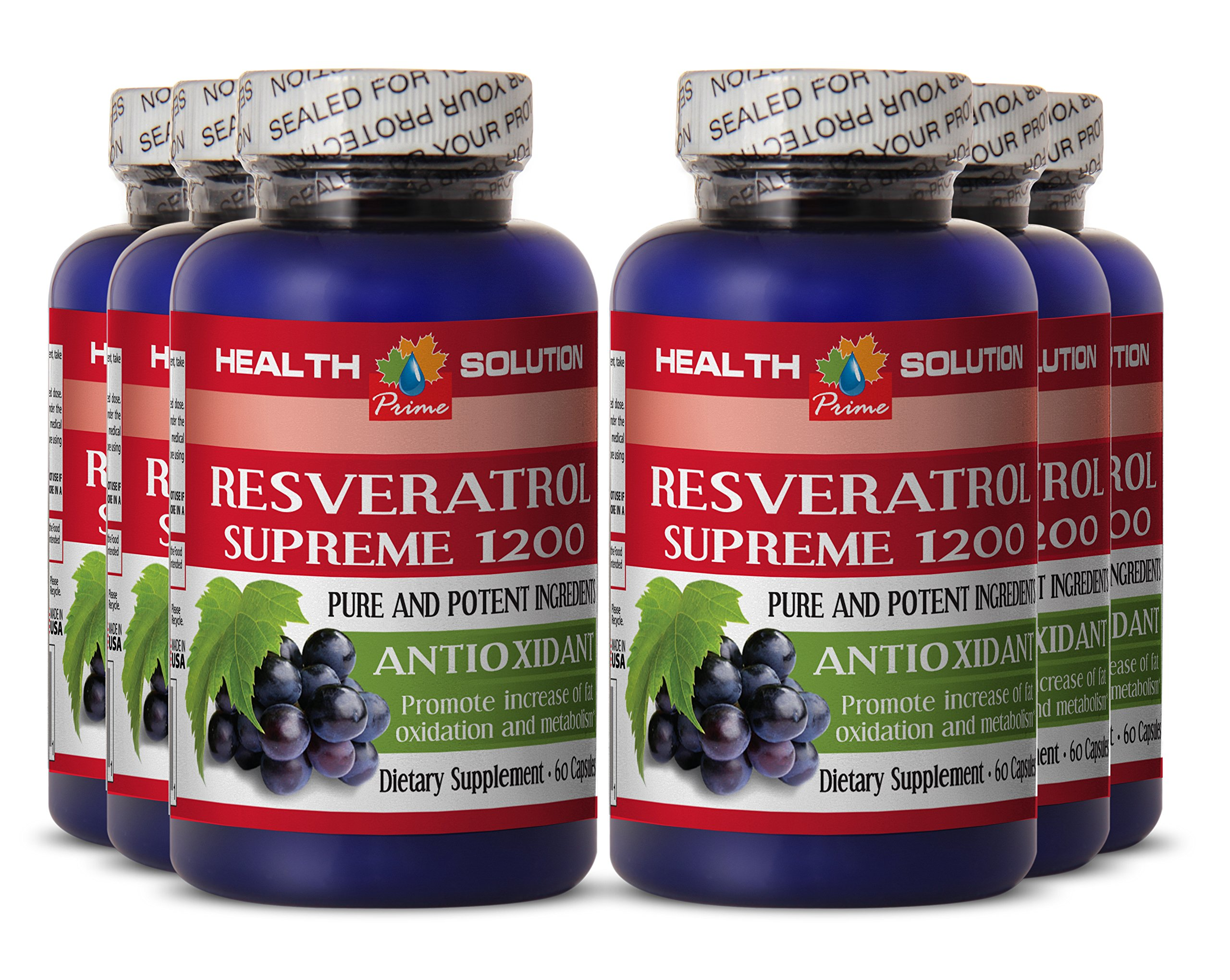 Red wine extract with resveratrol - RESVERATROL SUPREME 1200MG - support digestion (6 Bottles) by Health Solution Prime