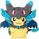 Pokemon Center original plush Pikachu Habille ponchos megaCharizard X megalizardon X