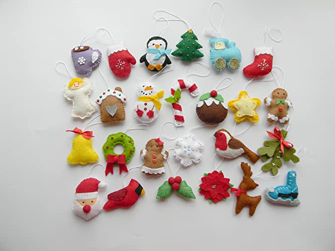 christmas felt ornaments set 25 advent calendar ornaments tree ornament christmas decor - Handmade Felt Christmas Decorations