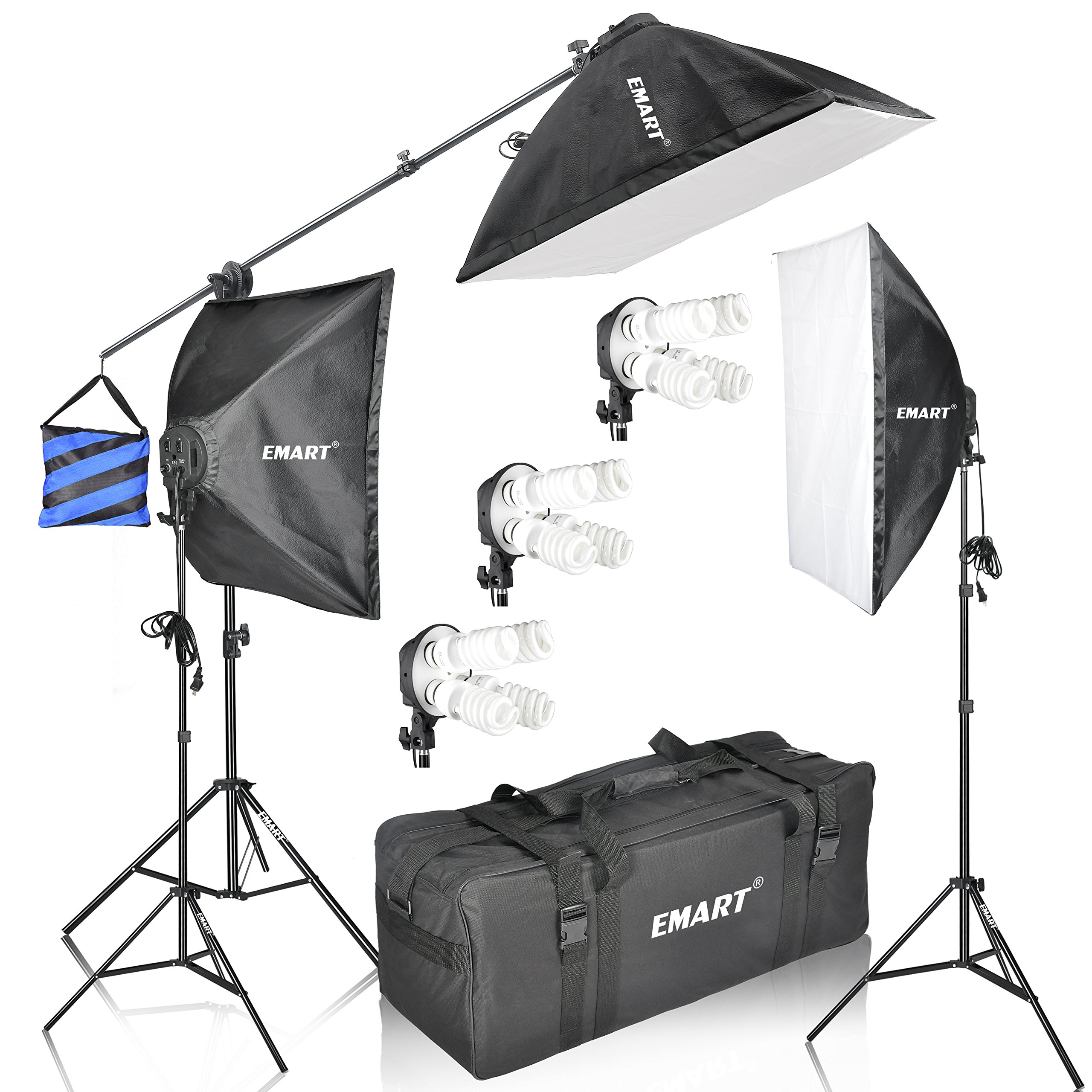 Emart 2400 Watt Continuous Lighting Studio Kit with Three Softbox Light 20'' x 28'', Boom Arm Hairlight for Photography Lighting and Photo Vedio Shooting