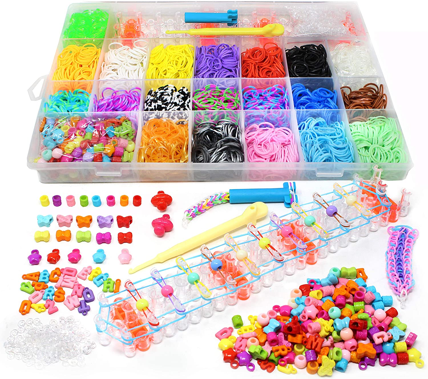 5800+ DIY Rubber Bead Looms Band Bracelet Maker Kit with Mega Rainbow Color Refill Bands, Beads and S Clips, Board and Organizer for Christmas Stocking Stuffers, Holiday Xmas Gift Party Favor Supplies Joyin Inc