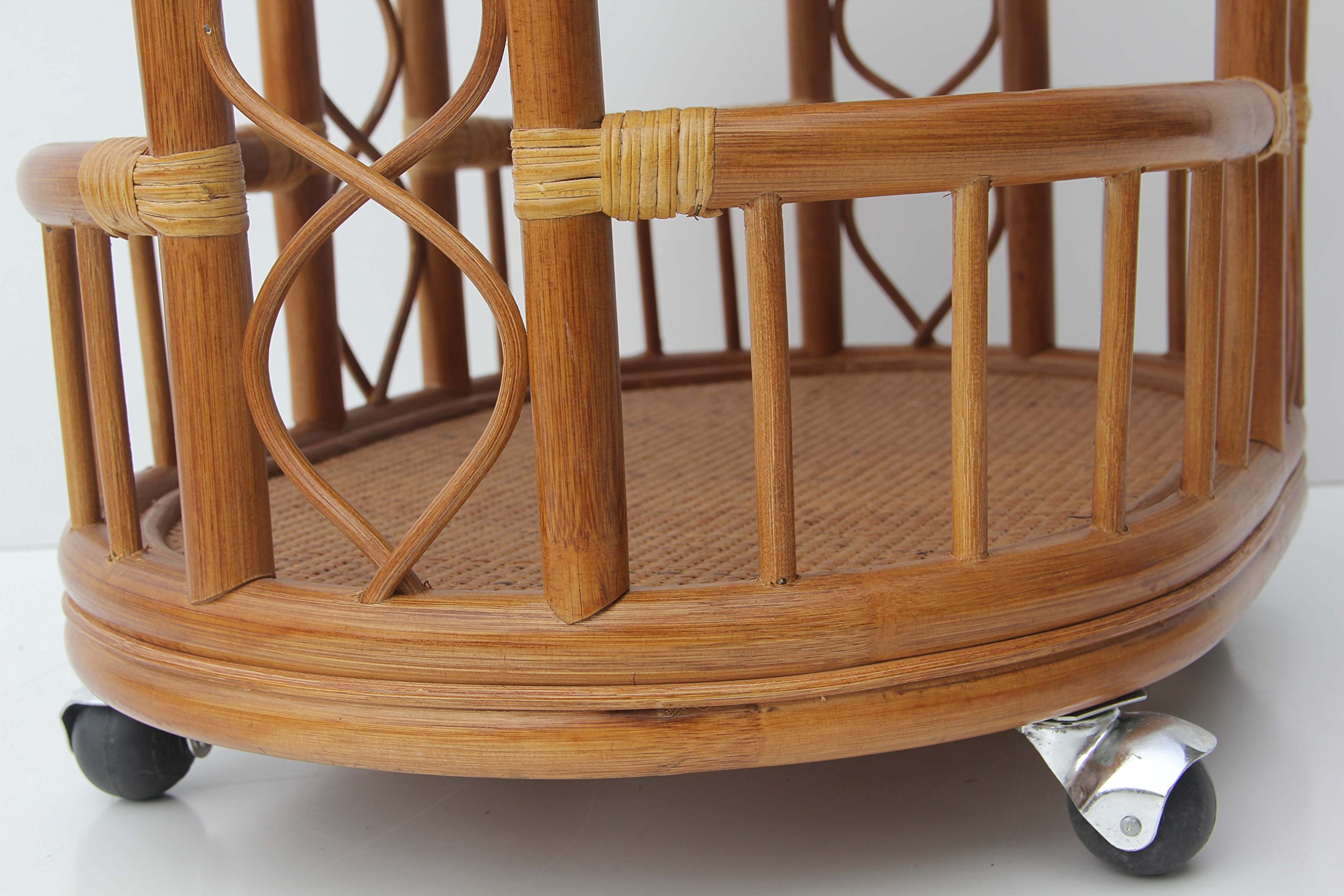 Moving Serving Cart Bar Table Natural Rattan Wicker Exclusive Handmade ECO, Cognac by SunBear Furniture (Image #2)
