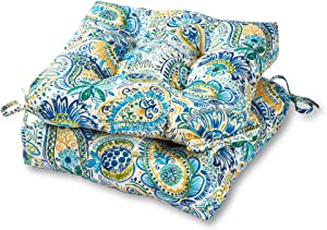 Greendale Home Fashions AZ6800S2-BALTIC Paisley Outdoor Dining Seat Cushion (Set of 2)