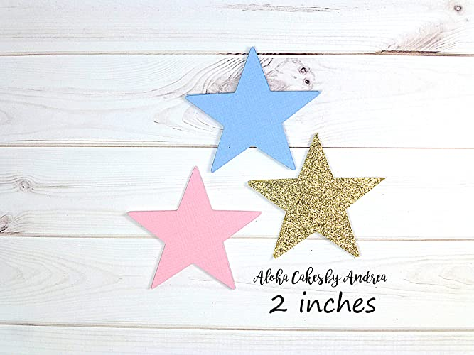 amazon com star cut out light pink light blue glitter gold