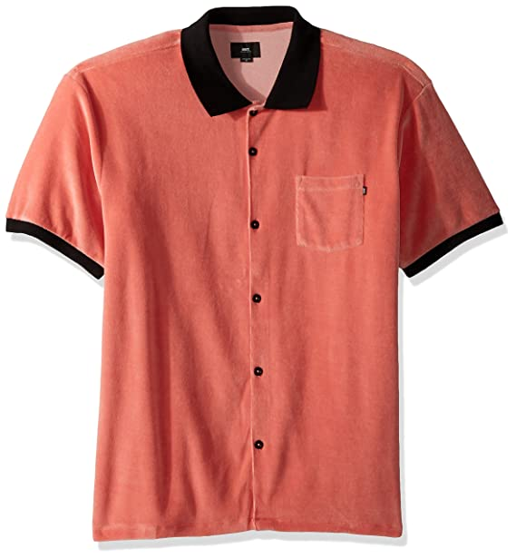 Amazon.com  Obey Men s Catalina Short Sleeve Button Front Polo Shirt ... 391697f60c8