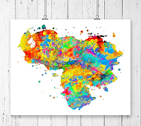 Amazon.com: Venezuela Map Art Print, Poster, Wall Art, Contemporary ...