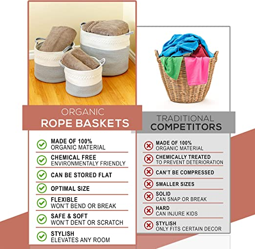 3 Pack Woven Rope Basket Set Small Medium Large Organic Woven White Gray Cotton Rope Baskets Durable Materials With Soft Rope Handles Great For Laundry Toys Towels Bedding