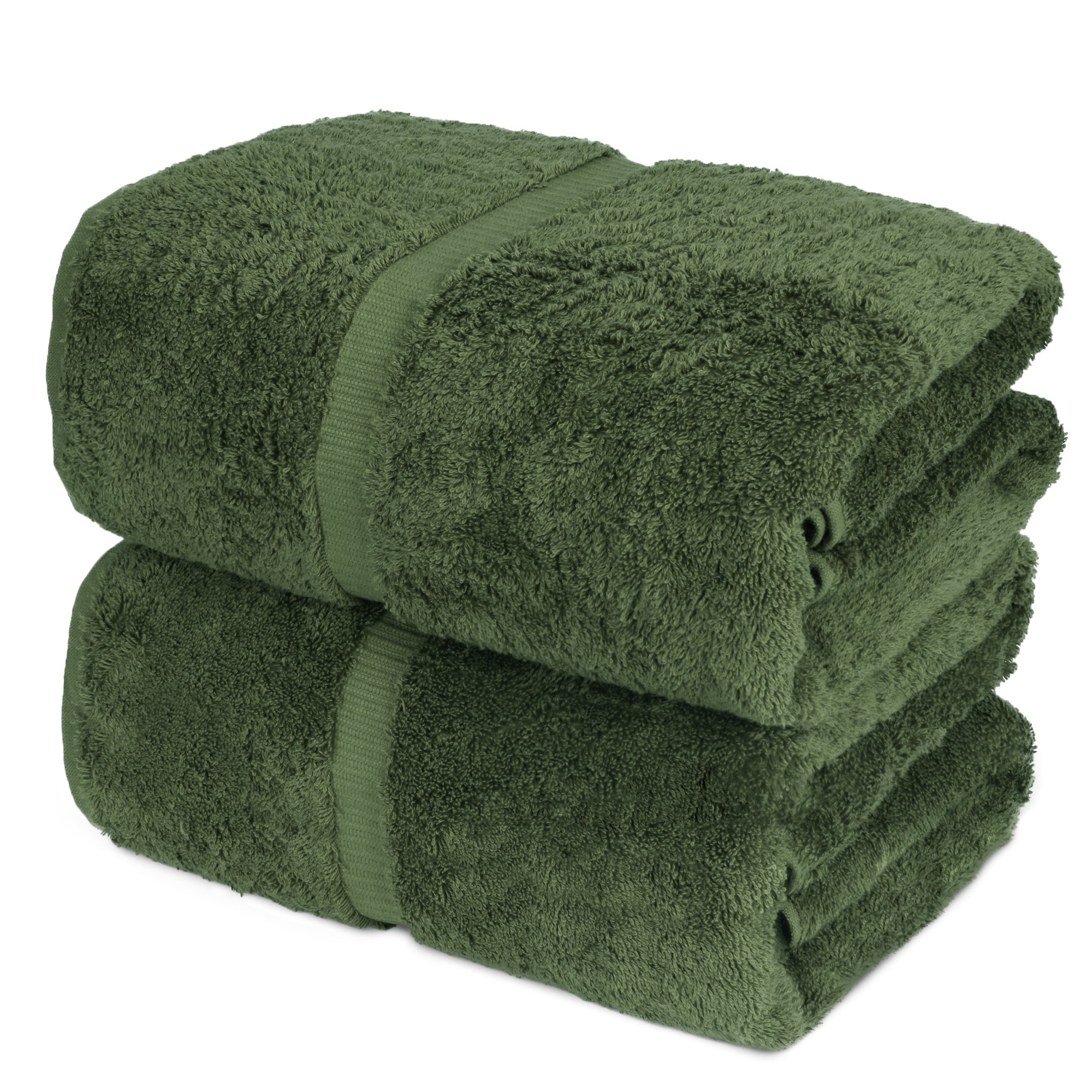 Luxury Super Soft Premium Cotton Bath Sheets, 700 GSM, 35 x 70 inches (Set of 2, Olive Green)