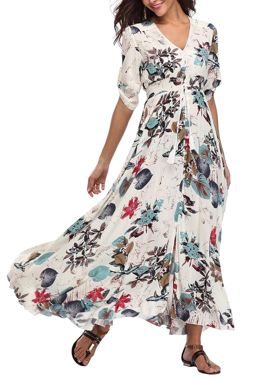 100% Cotton Long Boho Maxi Dress Party Evening Size 14 16 18 20 22 24 April Damenmode Kleidung & Accessoires
