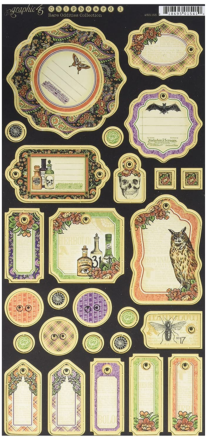 Graphic 45 Rare Oddities Collection Journaling Chipboard, 4501155