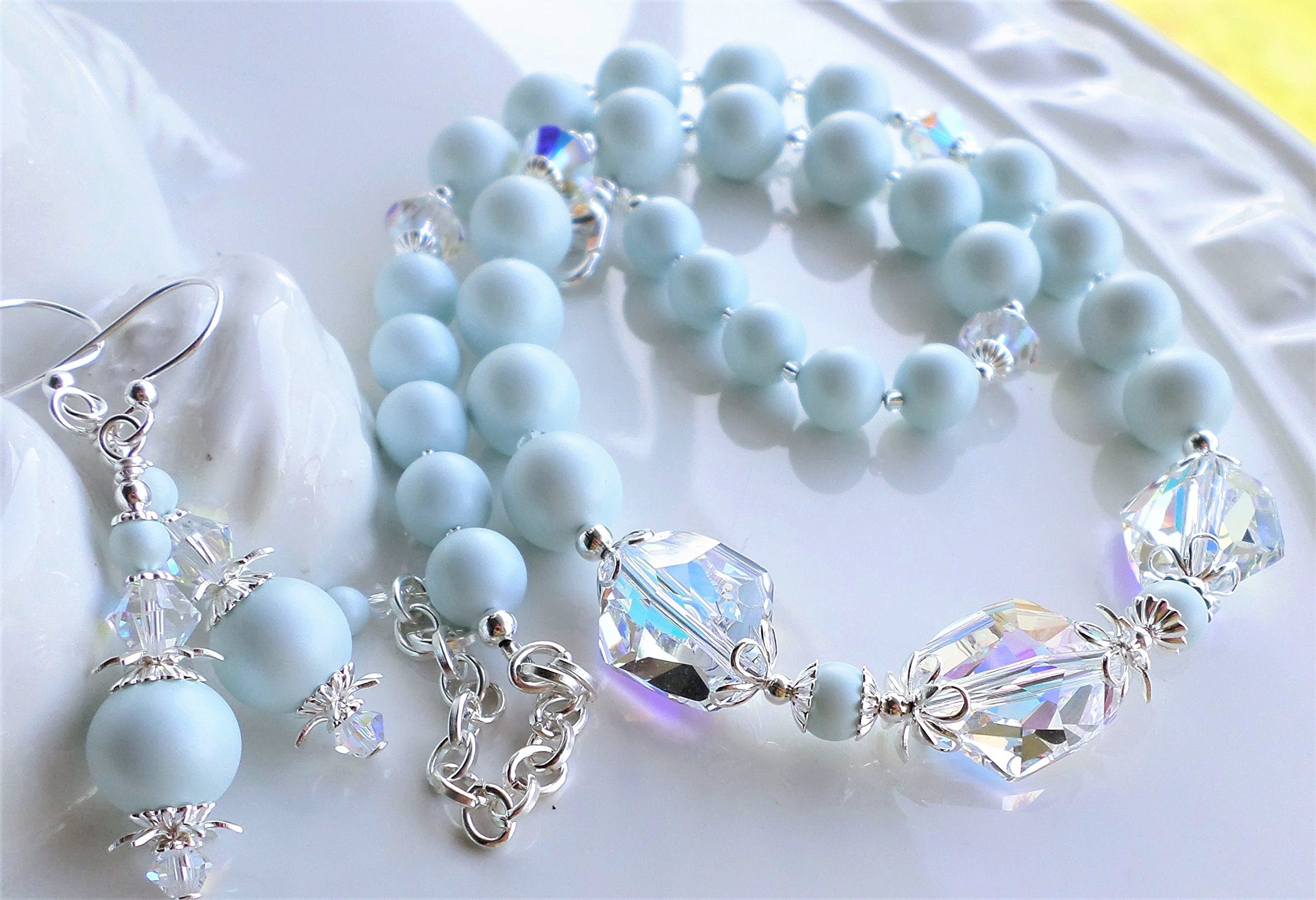 Swarovski Light Blue Pearl Crystal AB Necklace Earrings SET