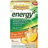Emergen-C Energy+ Dietary Supplement Drink Mix with Caffeine, 0.33 Ounce Packets (Mango-Peach Flavor, 18 Count)