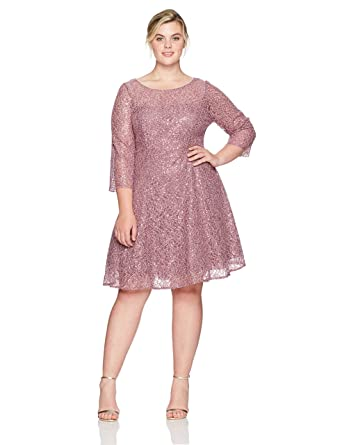Sl Fashions Womens Plus Size Lace And Sequin Fit And Flare Dress