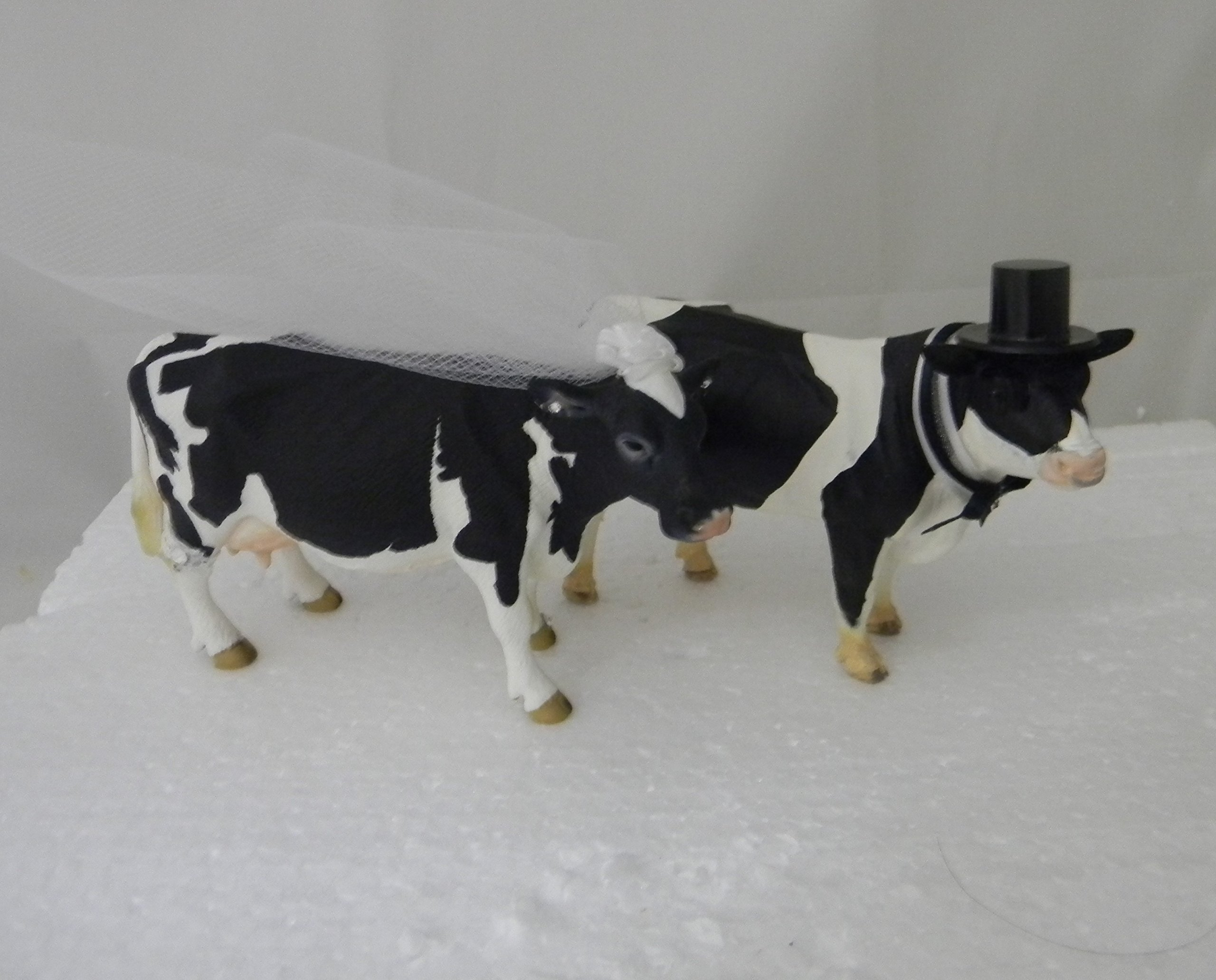 Wedding Reception Party Dairy Farmer Holstein Cow and Bull Cake Topper