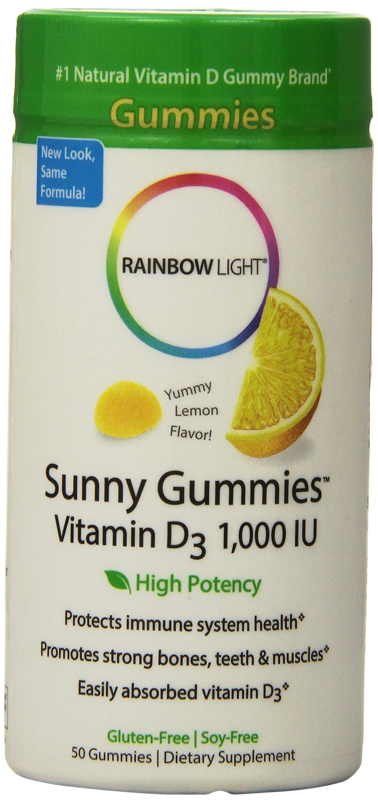 Rainbow Light Vitamin D3 1000 IU Sunny Gummies Lemon 50 ea (Pack of 3) by Rainbow Light