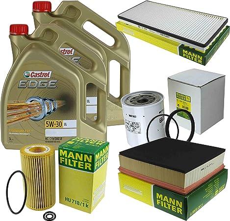 Filter Set Inspektionspaket 10 Liter Motoröl Castrol Edge Titanium Fst 5w 30 Ll Mann Filter Innenraumfilter Kraftstofffilter Luftfilter Ölfilter Auto