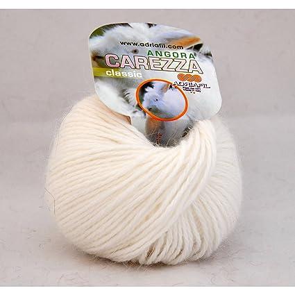 Adriafil-Ovillo de lana de Angora, CAREZZA Adriafil-, color blanco