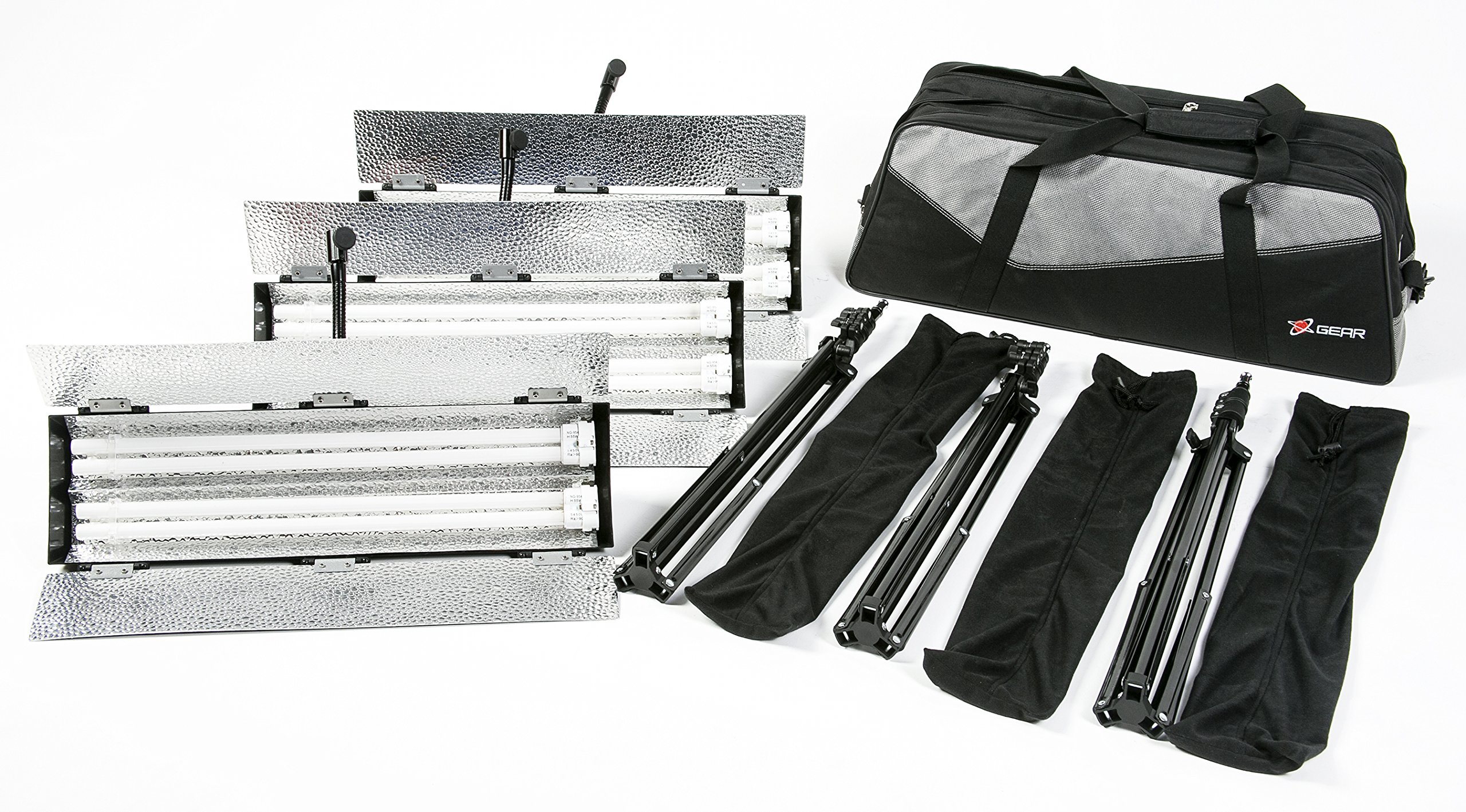 Digital Juice Aura 3-Point Lighting Kit with 3 Fluorescent Lights, 3 Stands, and Deluxe Carry Bag