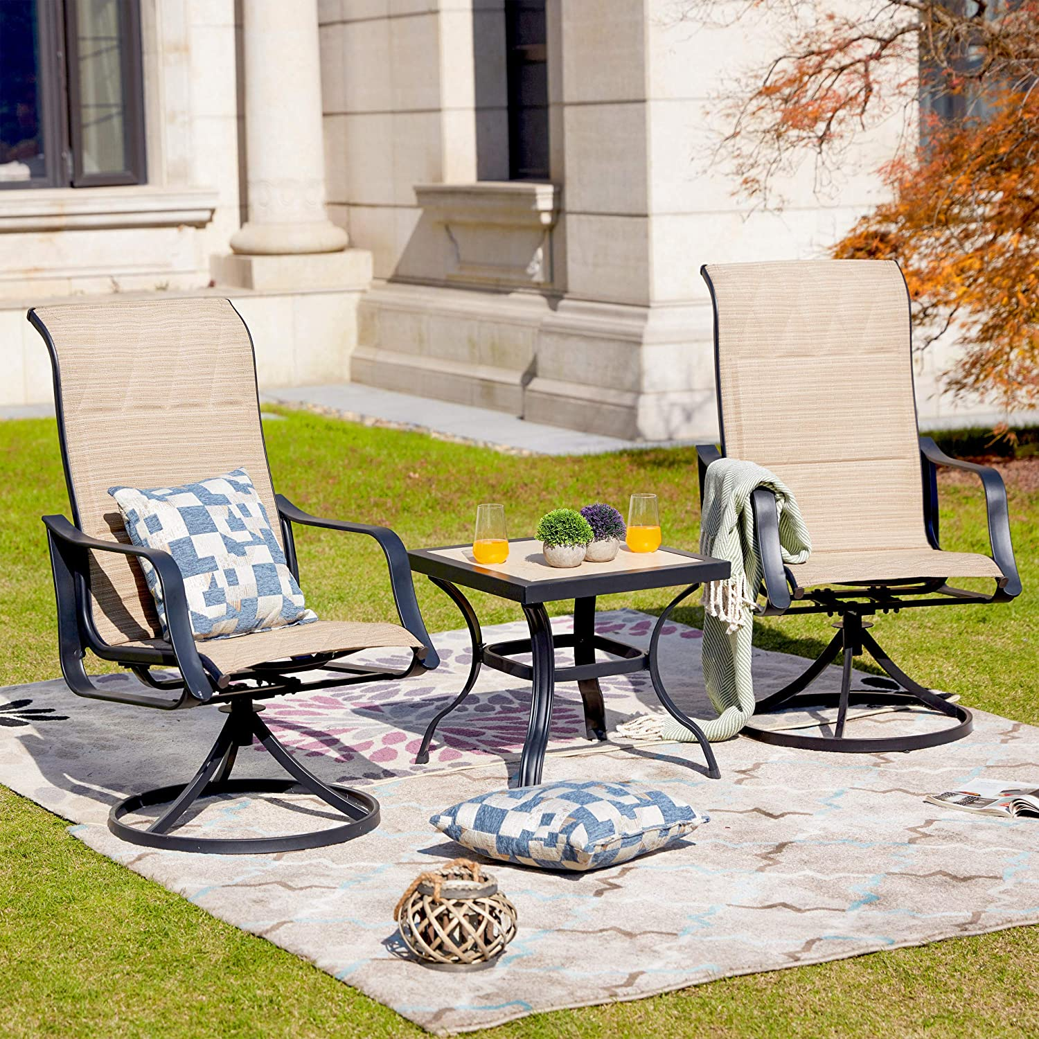 "LOKATSE HOME 3 Piece Patio Rocking Set with 2 Outdoor Swivel Chairs and 21"" Square Dining Table, Grey : Garden & Outdoor"