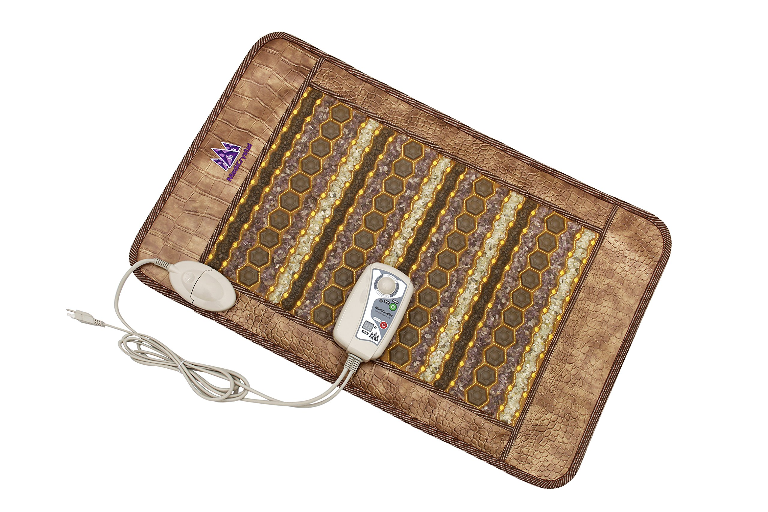 Amethyst Jade Tourmaline Flexible Heating Pad (Medium Pad 32''L x 20''W) by MediCrystal