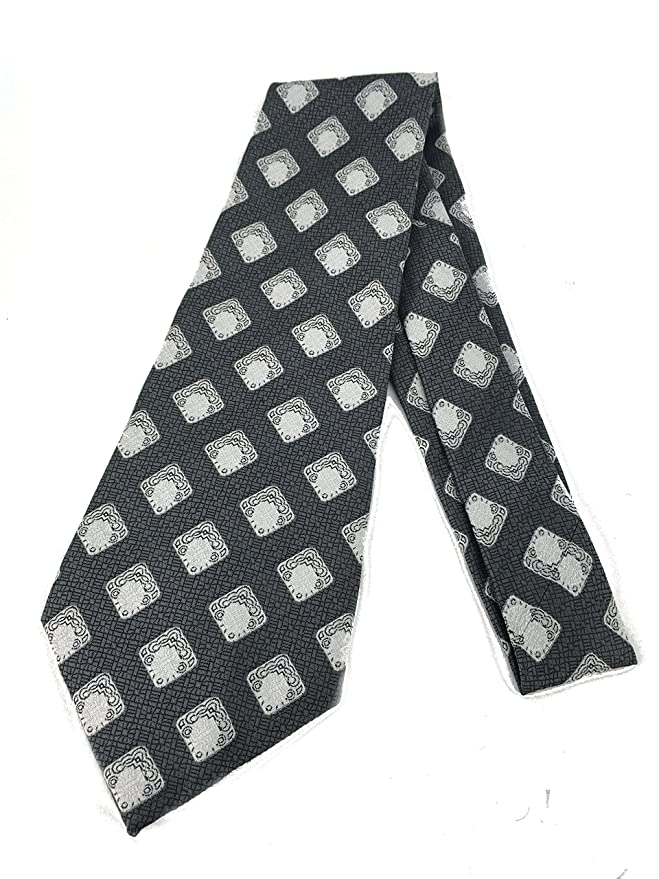 1920s Bow Ties | Gatsby Tie,  Art Deco Tie Diamond Art Deco Black Necktie - Vintage Jacquard Weave Wide Kipper Tie $17.90 AT vintagedancer.com