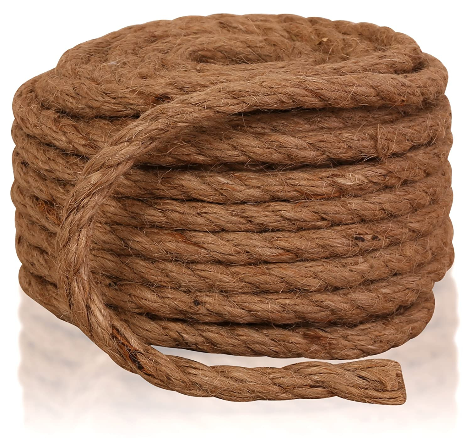 1//4-Inch by 50-Feet DIY Gift Wrapping Cat Scratching Post Replacement All Natural Sisal Fiber Hemp Rope Cord Supply Guru and Burlap Potato Sacks Twisted Sisal Rope Decoration for Arts Crafts
