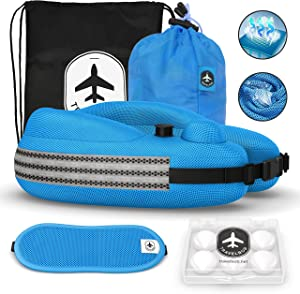 Travelbob COOLFAB Travel Inflatable Neck Pillow for Airplane - Cooling Airflow Vents, Breathable Pillow Cover Fabric, Full Head and Chin Support, Adjustable Height, with Built in Air Pump Flat Back