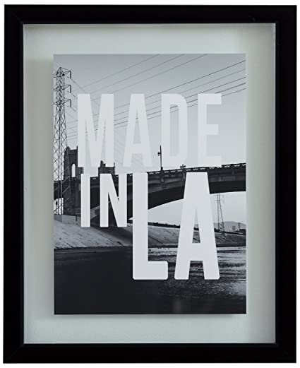 Amazon.com: Rivet Made in LA Black and White Print in Floating Glass ...