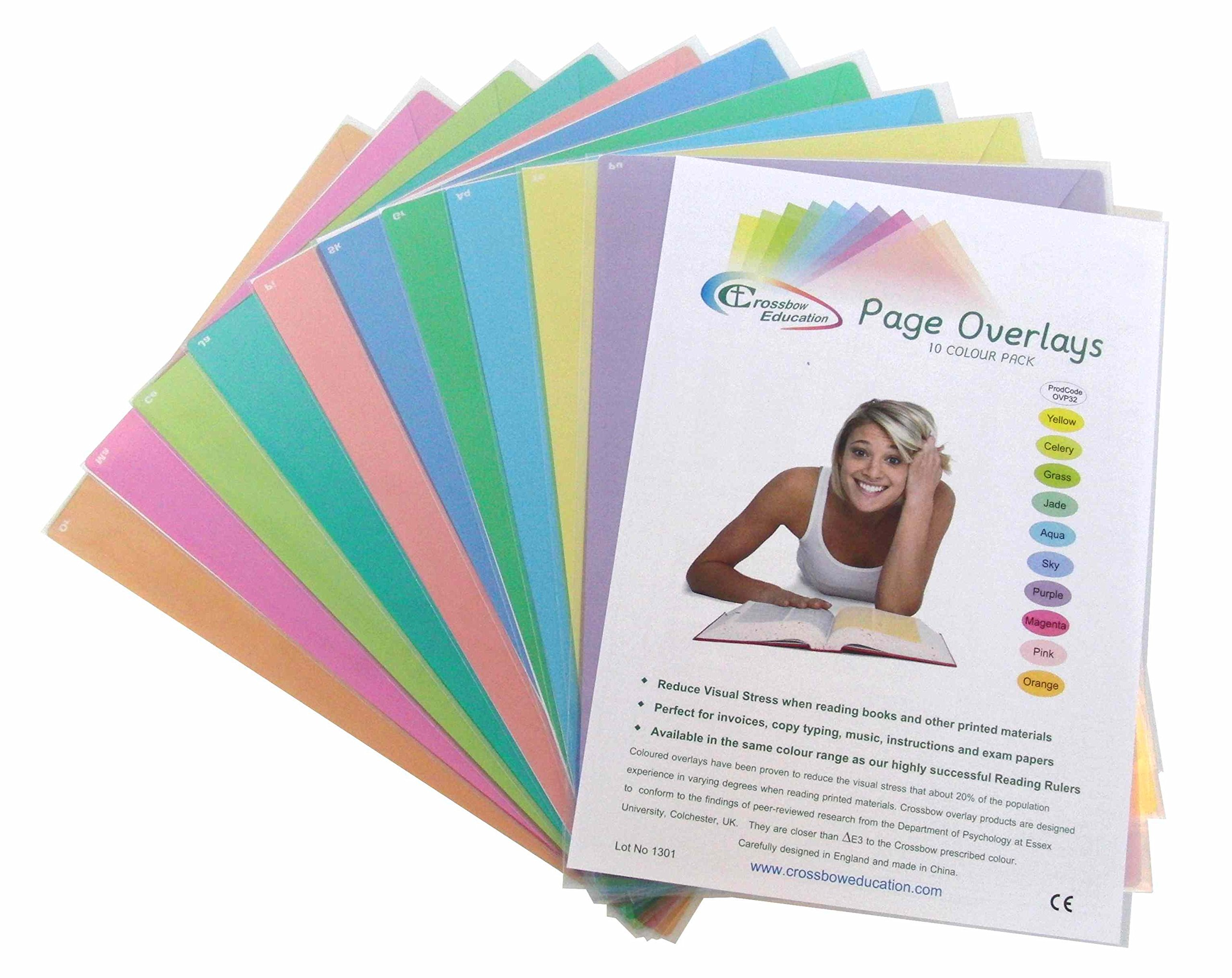 Colored Overlays for Reading - 10 Large Tinted Sheets - Visual Stress, Dyslexia