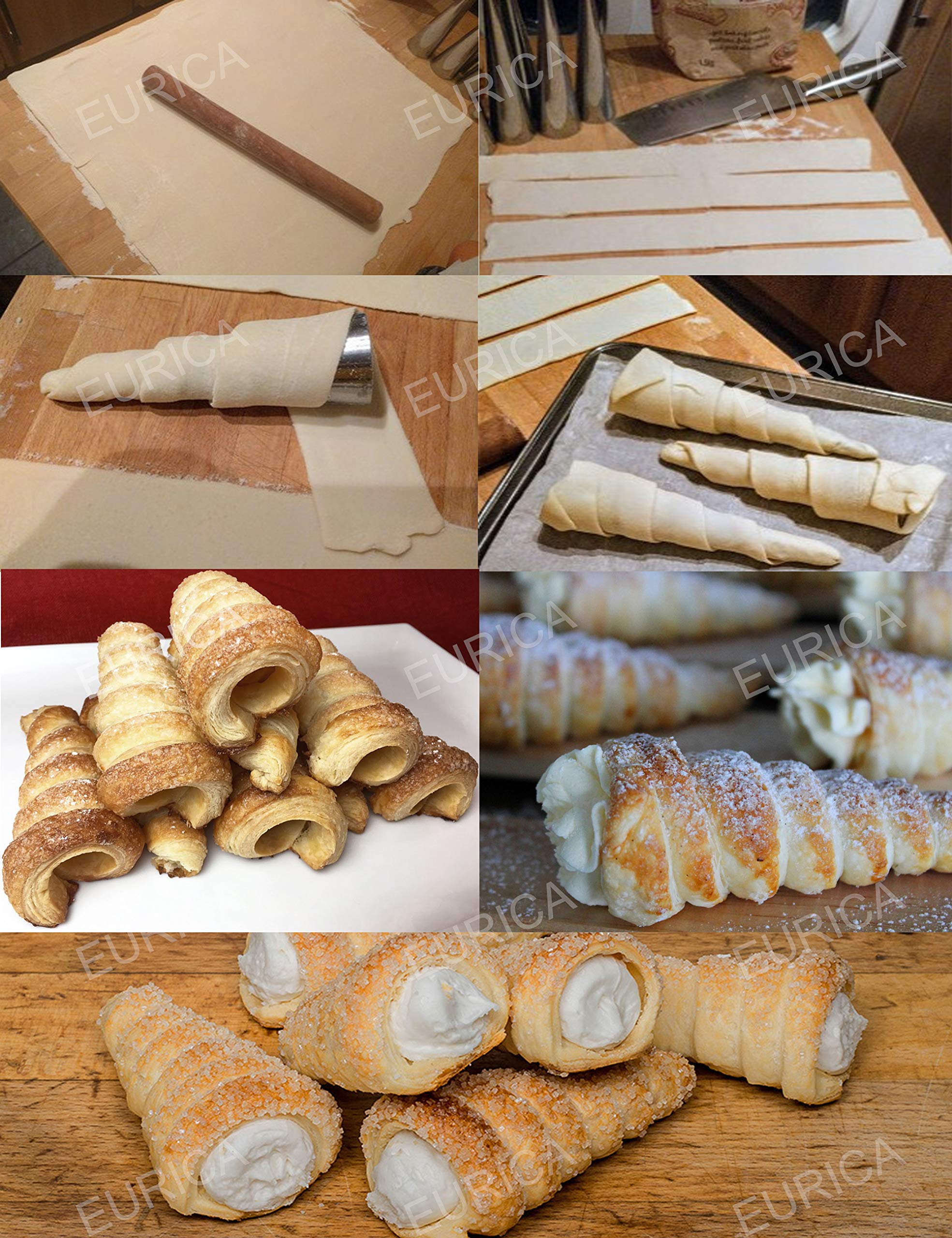 Cream Horn Molds EURICA 5-inch Large Size Cream Horn Forms Pack of 16 Cannoli Tubes Ice Cream Mold Stainless Steel Lady Lock Puff Pastry Cream Horn Mold Waffle Cone Pastry Roll Horn Croissant Mold 7 1. SIZE and MATERIAL: Height: 5 inches/12.7cm; Diameter:1.4 inches/3.6cm. For making Big Horn. Material: 100% High Quality anti rust Stainless Steel with NO coating on both inside and outside, which is non-toxic and healthy. 2. PACKAGE INCLUDE: 16 pcs cream horn molds and 1 cleaning brush. You can make 16 HORNS IN ONE GO! Each product has an individual package, which prevents the cream horn molds from being polluted and abraded, and makes them easy to be separated. 3. EAST TO MAINTAIN AND SPACE SAVING: Smooth surface prevents pastry sticking to it. Almost seamless cream horn molds do not catch dough and make it easy to remove baked goods. Wash with our cleaning brush free for you easily. Dry thoroughly before storage. Only need a small space if you stack the cream horn molds together one by one.