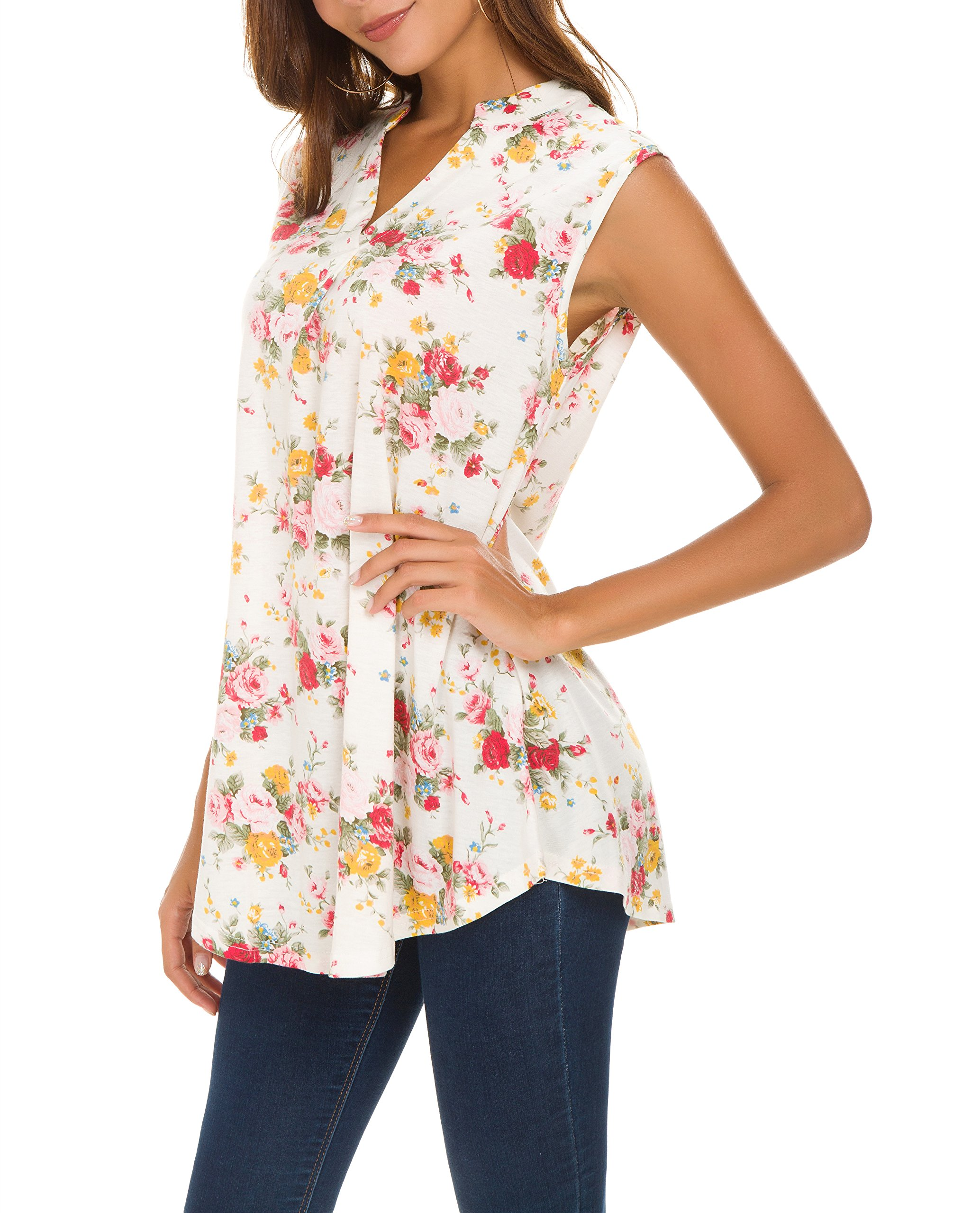Reyokale Floral Shirts for Women, Ladies Printed Sleeveless Henley V Neck Elegant Casual Blouse Tunic Tank Top Beige S