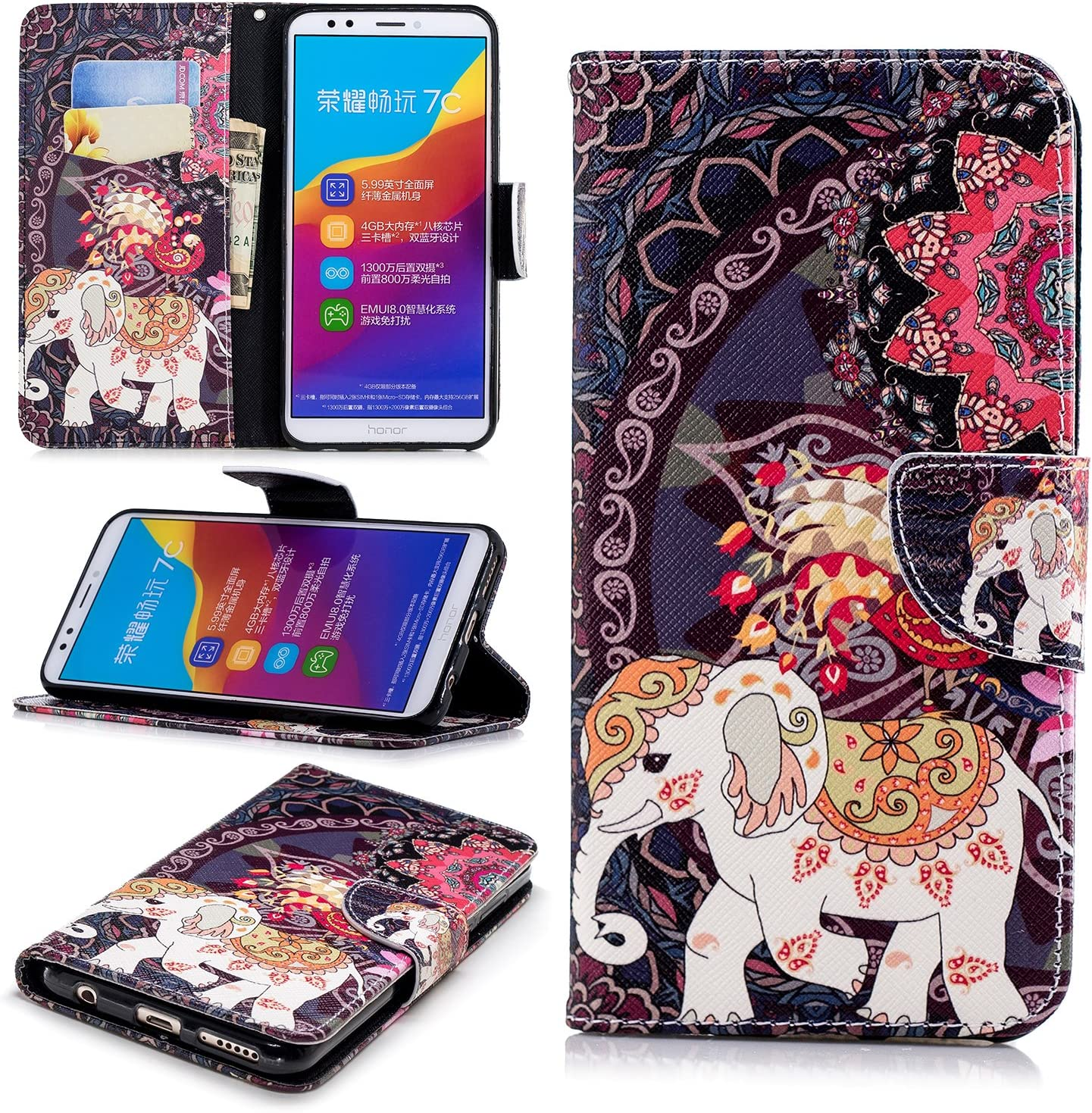 Lomogo Leather Wallet Case with Kickstand Card Holder Shockproof Flip Case Cover for Huawei Y7 2018 Huawei Y7 2018 Y7 Prime 2018 Case LOBFE11438#5 Honor 7C