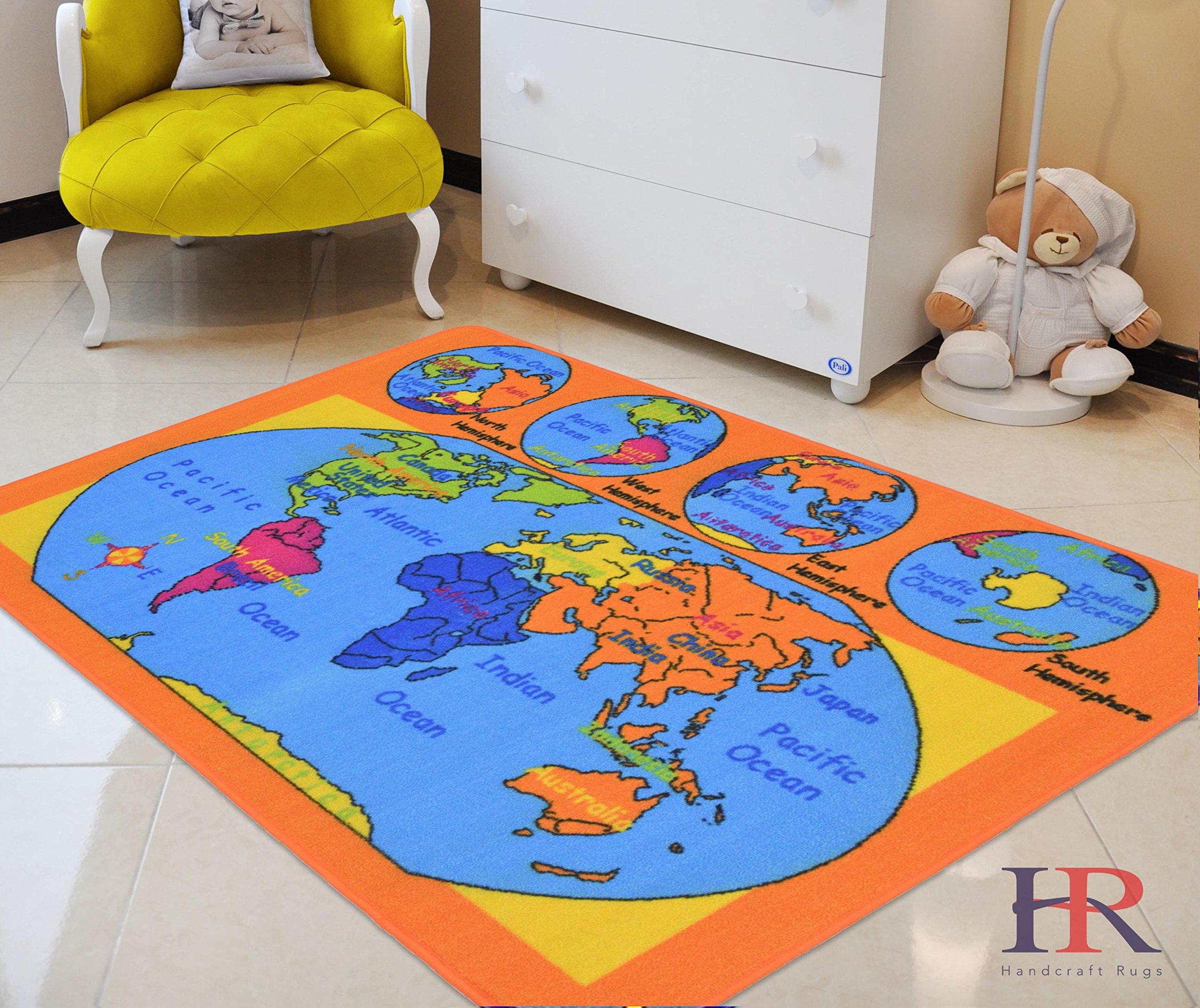 World Map Kids Educational Play mat for School/Classroom / Kids Room/Daycare/ Nursery Non-Slip Gel Back Rug Carpet-(5 by 7 feet)