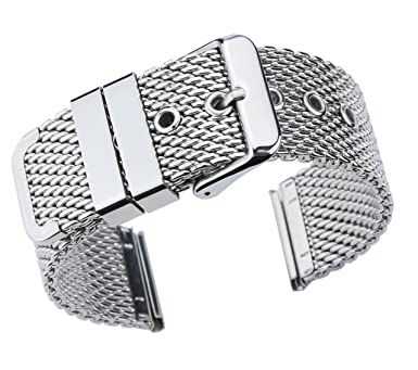7b7659802 18mm Deluxe Silver Chainmail Mesh Watch Bracelet Metallic Milanese Strap  316L solid Metal Stainless Steel