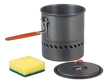 Eloxiertes Aluminium Ultraleicht 305 g Anthrazit Energieeffizient AceCamp HE Kochtopf 1.5 l Kessel W/ärmetauscher 1663 Topf
