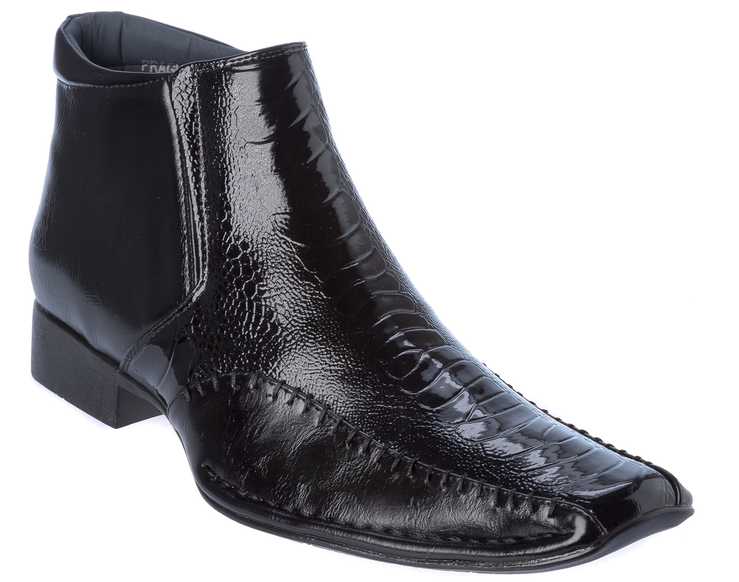 Alberto Fellini Mens Western Style Slip-on Side Zipper Black Patent-Leather Cowboy Boots Size 13