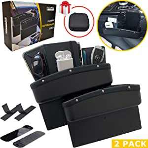 Inovare Designs Black Car Seat Gap Filler Premium Leather with Black Stitching 2 Pack Upgraded Version - Car Seat Gap Organizer - Car Seat Pockets Catch Caddy Stop Drop - Car Accessories