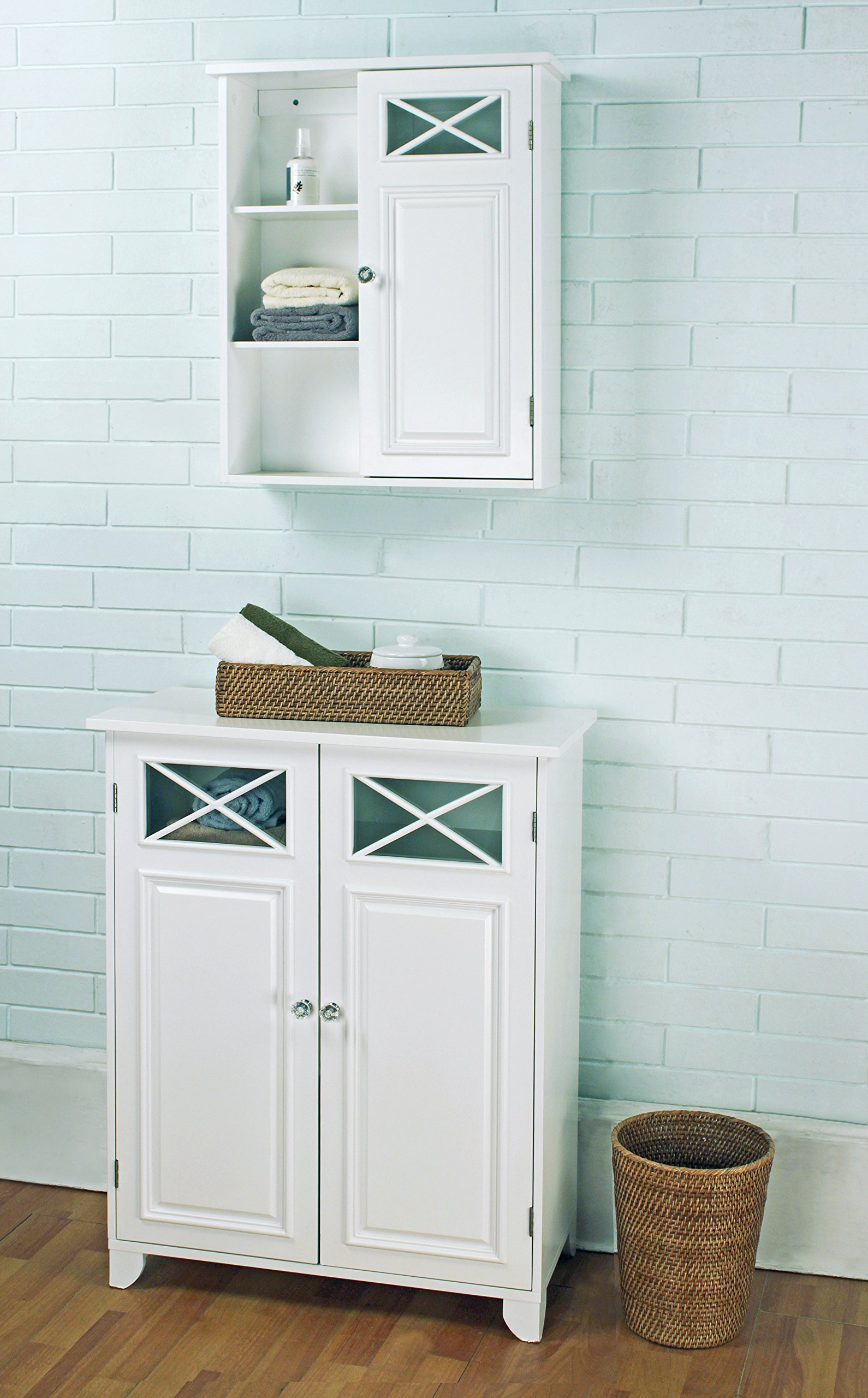 Elegant Home Fashions Dawson Collection Shelved Floor Cabinet, White by Elegant Home Fashions (Image #4)