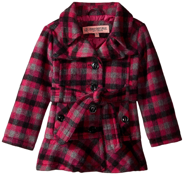 6X Urban Republic Girls Little Wool Belted Coat Black//Pink