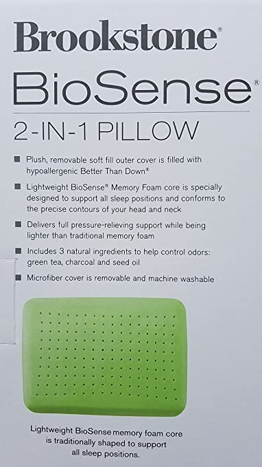 Amazon Brookstone BioSense 40IN40 Classic Pillow StandardQueen Stunning Biosense Classic Memory Foam Pillow With Better Than Down Cover