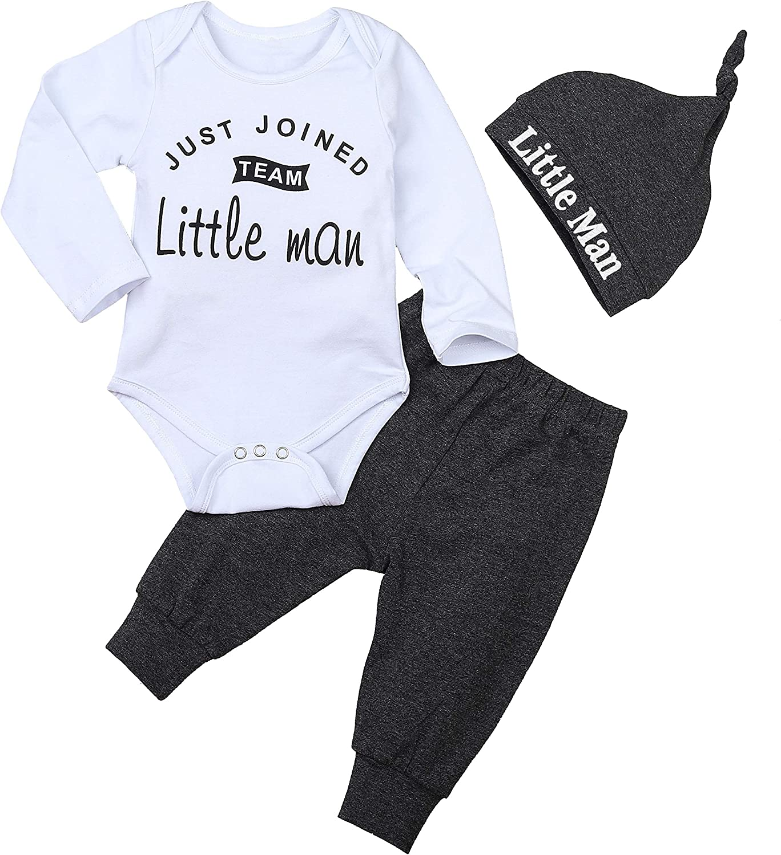 Infant Baby Boy Clothes Stripe Christmas Romper Fall Cotton Outfit Set Jumpsuit+Hat