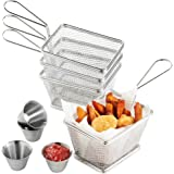 VonShef Set of 4 Mini Stainless Steel Chip Serving Fry Baskets with 4 x Sauce Dipping Bowls