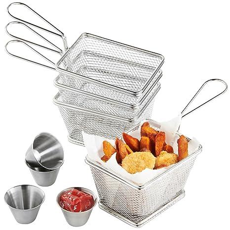 VonShef Set de 4 Mini Cestas de Acero Inoxidable para Servir Fritos con 4 x Boles