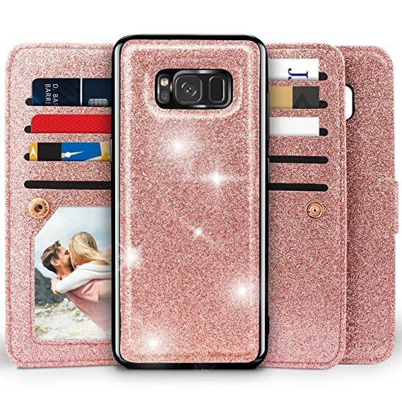 separation shoes fc96e 9c845 Galaxy S8 Wallet Case, Miss Arts Detachable Magnetic Slim Case with Car  Mount Holder, 9 Card/Cash Slots, Magnet Clip, Wrist Strap, PU Leather Cover  ...