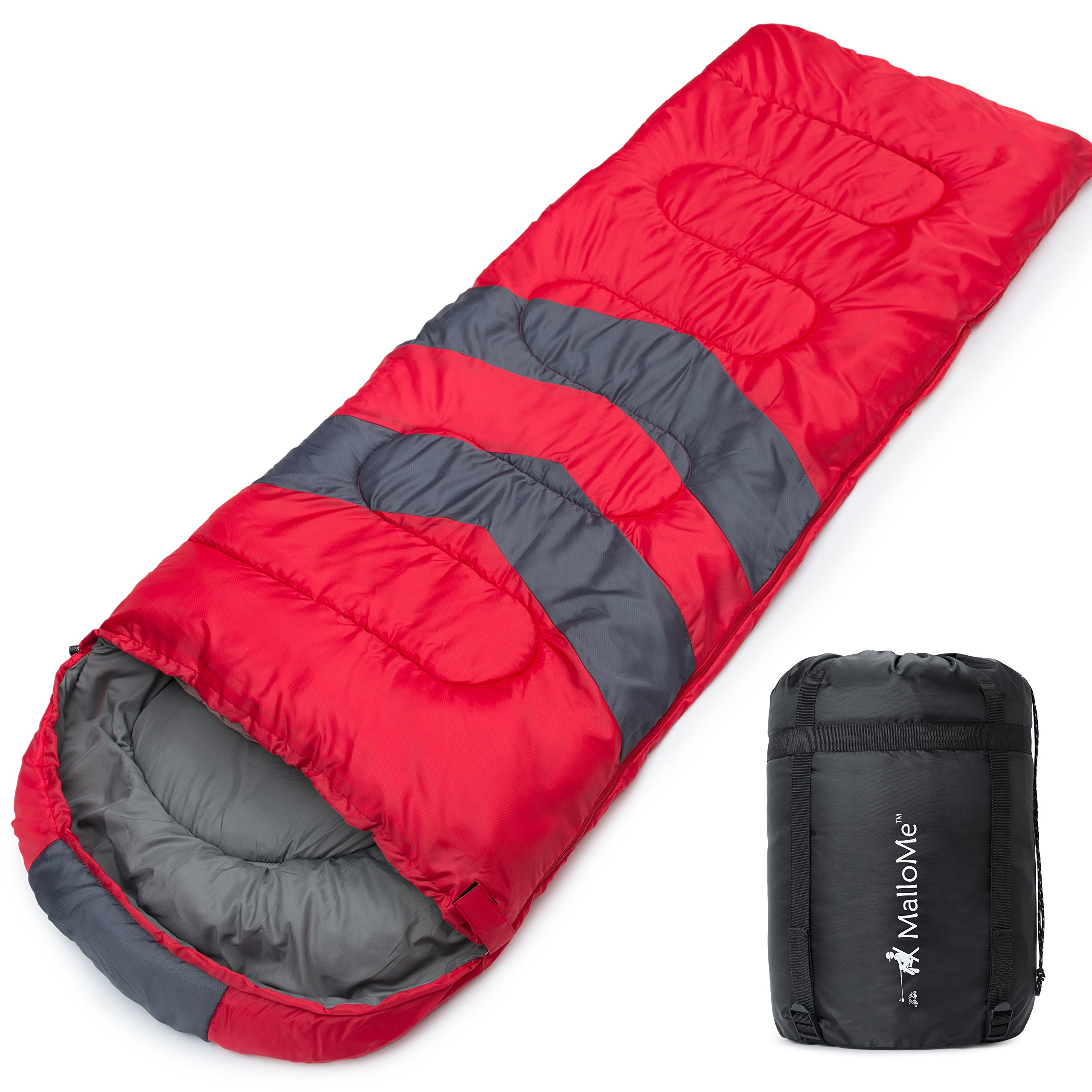 MalloMe Single Camping Sleeping Bag - 4 Season Warm Weather and Winer, Lightweight, Waterproof - Great for Adults & Kids - Excellent Camping Gear Equipment, Traveling, and Outdoor Activities by MalloMe