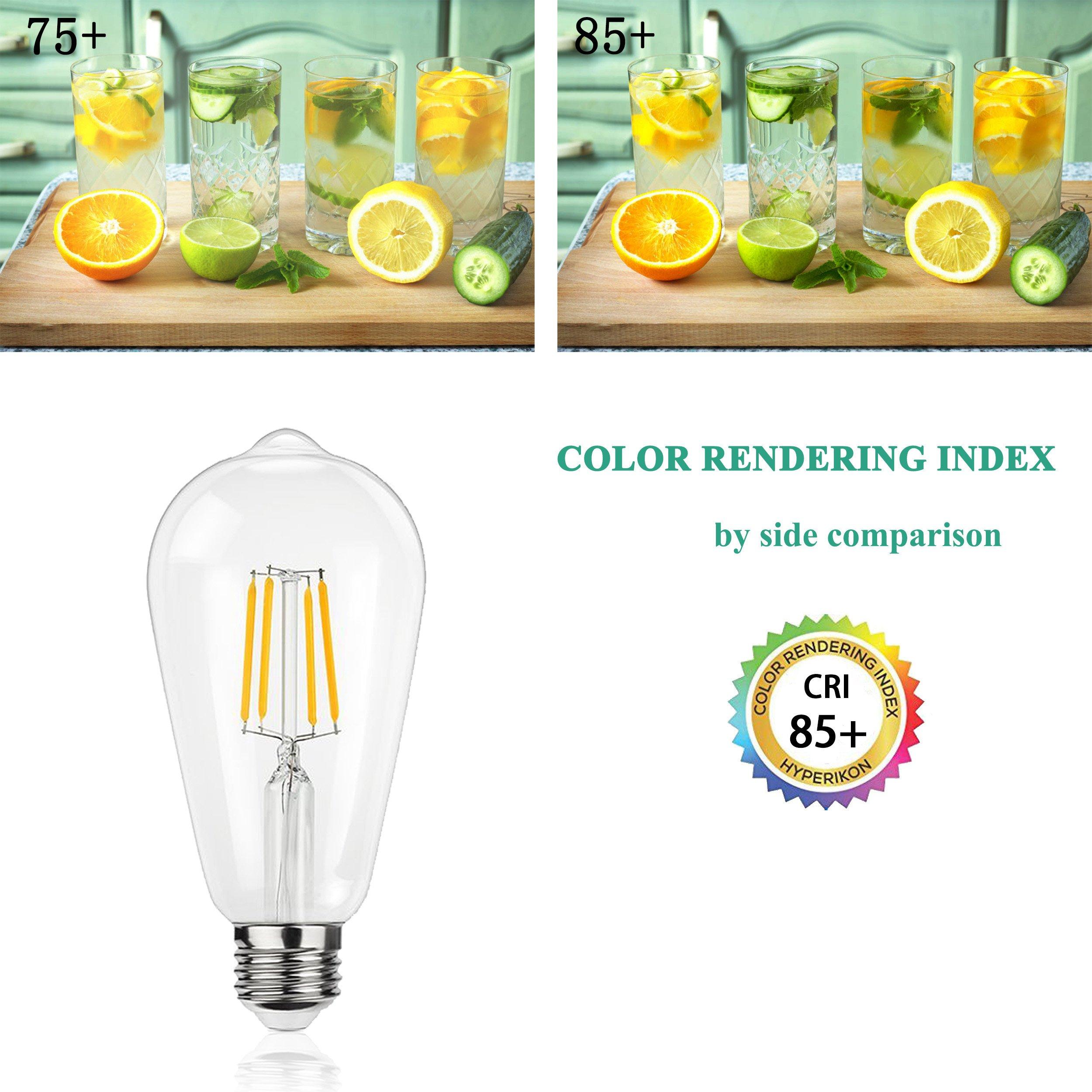 LED Edison Light Bulb – 4 Watt ST64 LED Vintage Style Filament Light Bulb(40 Watt Equivalent), Not Dimmable E26 Base Light Bulb 2700K Natural White 120 Volt 400 Lumens for Decorative Home(Pack of 1)